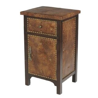Brown Leather Nailhead Cabinet