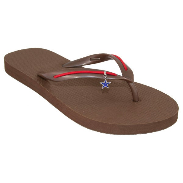 MADiL 'Cowgirl' Brown/ Red Personalized Flip Flops