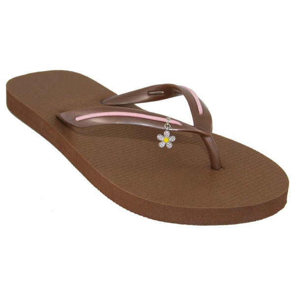 MADiL 'Cotton Candy' Brown/ Pink Personalized Flip Flops