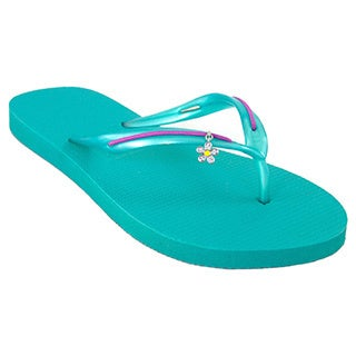 MADiL 'Bloom' Teal/ Purple Personalized Flip Flops