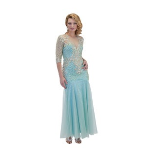 Daniella Sea Green Open Back Bead Embellished Evening Dress