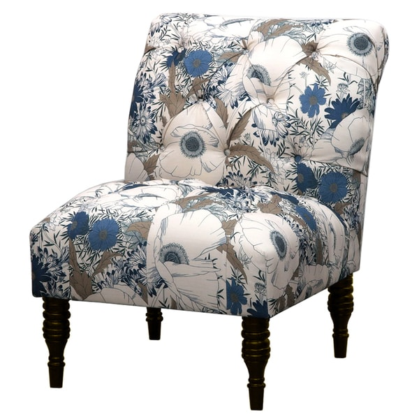 Cassidy River Blue Floral Tufted Accent Chair