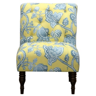 Blue/Citron Tufted Accent Chair