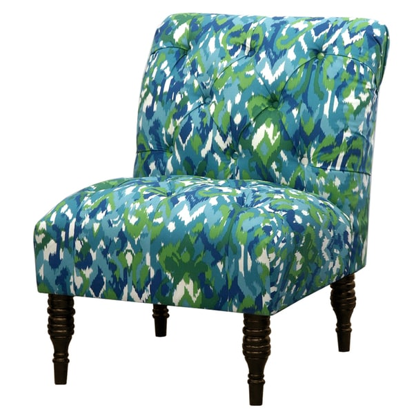 Ikat mix blue green tufted accent chair ikat mix blue green 336b239c