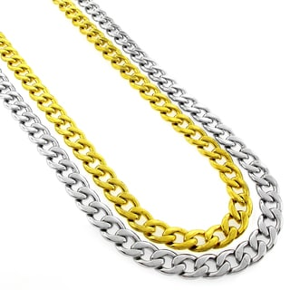 Stainless Steel Men's 9mm Cuabn Curb Link Chain Necklace (24-inch)