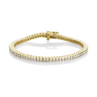 Summer Rose 14k Yellow Gold 4ct TDW Princess-cut Diamond Tennis Bracelet (H-I, SI1-Si2)