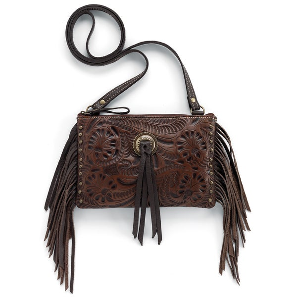 American West Honky Tonk 7185518 Fringed Crossbody Bag