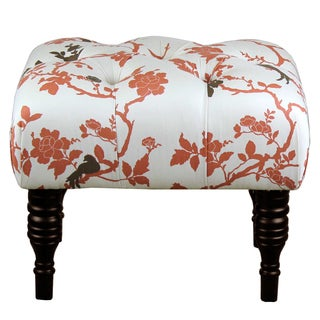 Perch Rust Red Floral Tufted Ottoman
