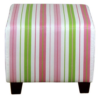 Pink/Green Striped Ottoman