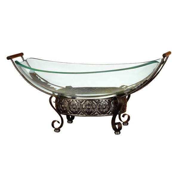 Glass Bowl with Filigree Round Metal Stand