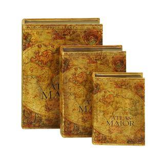 Old World Decorative Wood Book Box (Set of 3)