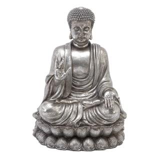 Silvertone Polystone 24-inch Meditating Buddha