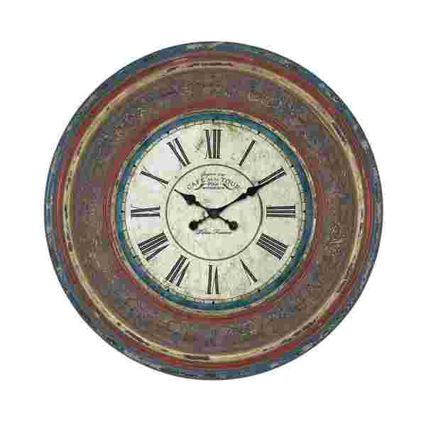 Classic Wood Wall Clock with Large Roman Numerals