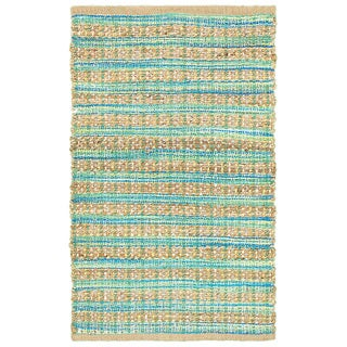 Hand-woven Jute/ Chenille Accent -Wycombe Blue/Green Rug (2'6 X 4')