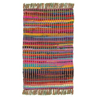 Hand-woven Jute/ Chenille Accent Multi-colored Rug (2'6 X 4')