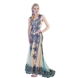 Daniella Two-tone Lace/ Bead Embellished Evening Dress