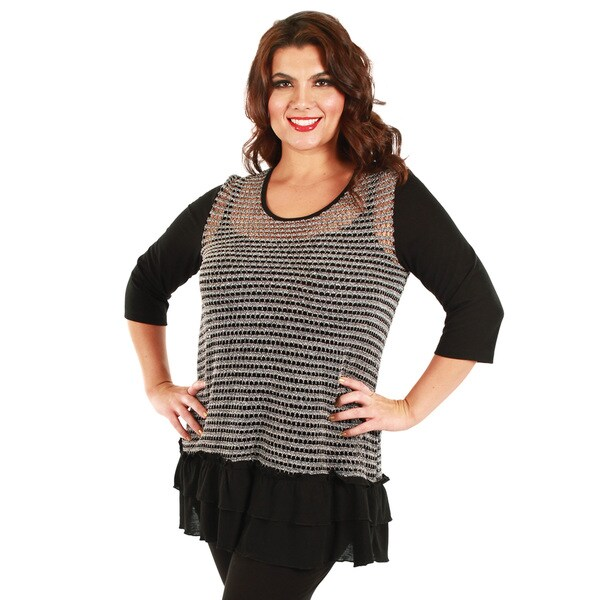Firmiana Women's Plus Size Black and Grey Sheer Ruffle Overlay Top