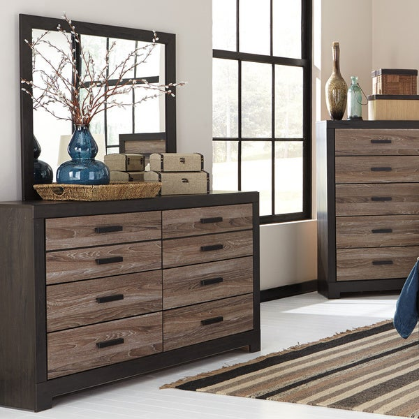 Signature Design by Ashley Harlington Grey Dresser with Mirror