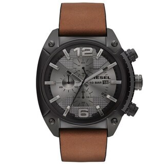 Diesel Men's Chronograph Overflow Tan Leather Strap Watch 54x49mm DZ4317