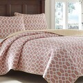 Tommy Bahama Catalina Trellis Mango Reversible 3-piece Cotton Quilt Set