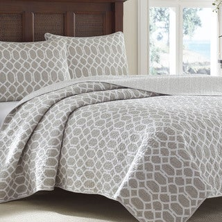 Tommy Bahama Catalina Trellis Grey Reversible 3-piece Cotton Quilt Set