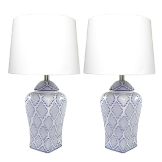 JT Lighting Handpainted Ikat Diamond Table Lamps (Set of 2)
