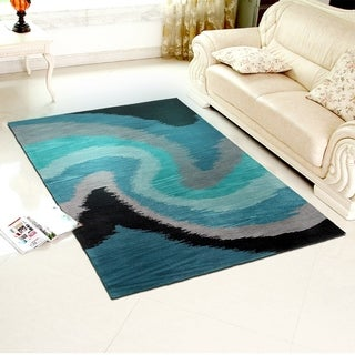 Hand-tufted Poly-acrylic Fashion Blue Rug (9' X 12'9)