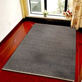 Hand-crafted Jute Elite Natural Indigo Rug (7'9 X 9'9)
