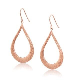 14KT Rose Gold Teardrop Hoops Dangle Earrings