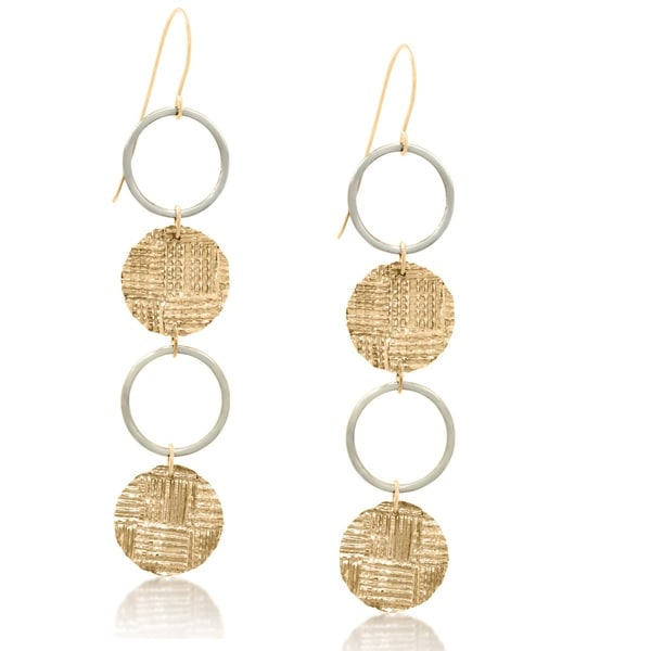 Gioelli 14k Two-tone Gold Coin and Hoop Dangle Earrings