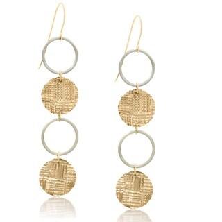 Gioelli 14k Two-tone Gold Coin and Hoop Dangle Earrings