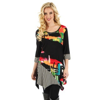 Firmiana Women's Black and Multicolored Panel Side-tail Tunic