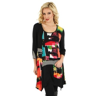 Women's Multicolored Patchwork Side-tail Tunic