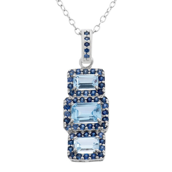 Sterling Silver Created Aquamarine and Created Sapphire Rectangular-shaped Pendant