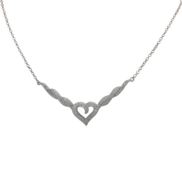 Sterling Silver Cubic Zirconia Twisted Heart Necklace