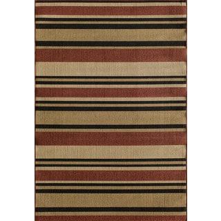 Somette Tributary Allison Stripe Red Indoor/ Outdoor Rug (6'7 x 9'6)