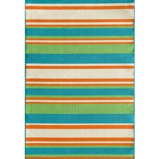 Somette Tributary Allison Stripe Turquoise Indoor/ Outdoor Rug (5' x 7'3)