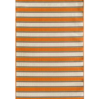 Somette Tributary Crosby Stripe Snow and Orange Indoor/ Outdoor Rug (5' x 7'3)