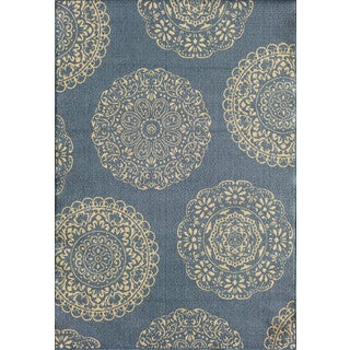 Somette Tributary Fantasia Blue and Ivory Indoor/ Outdoor Rug (6'7 x 9'6)