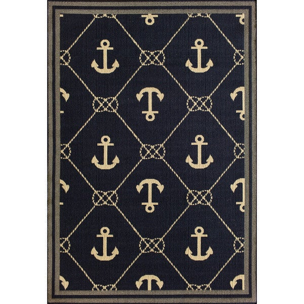 Somette Tributary Anchor Navy and Ivory Indoor/ Outdoor Rug (7'10 x 9'10)