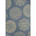 Somette Tributary Fantasia Blue and Ivory Indoor/ Outdoor Rug (7'10 x 9'10)