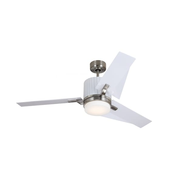 Monte Carlo Ken Brushed Steel Finish with White ABS Blades 52-inch Ceiling Fan