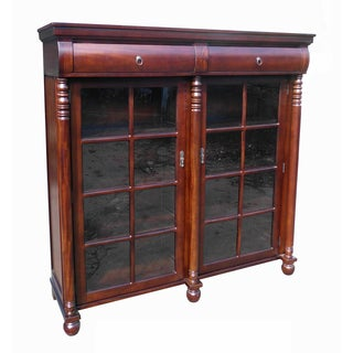 D-Art Dark Brown Mahogany Traditional Display Bookcase (Indonesia)