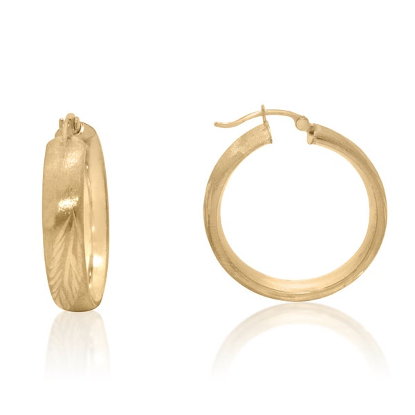 14k Gold Diamond Cut Brushed Hoop Earrings