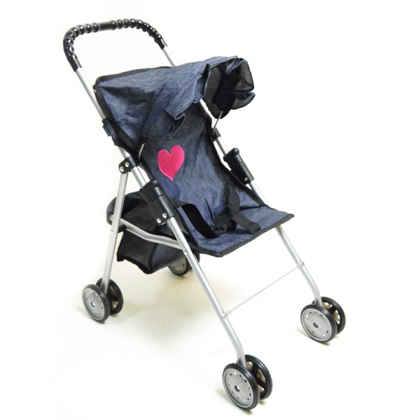 The New York Doll Collection Travel Stroller with Basket