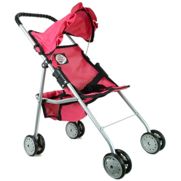 The New York Doll Collection Pink Travel Stroller with Basket