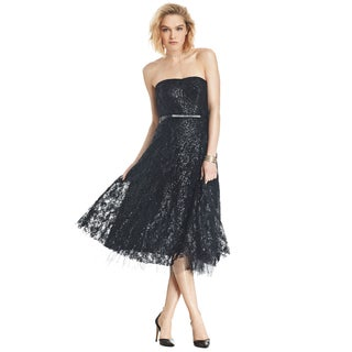 ABS Allen Schwartz Black Elizabeth Belt Bustier Strapless Cocktail Dress