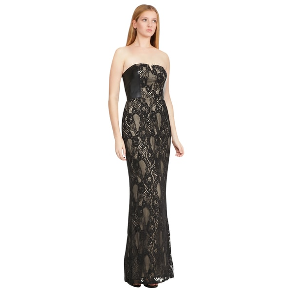Aidan Mattox Black Nude Strapless Faux-leather Lace Evening Dress