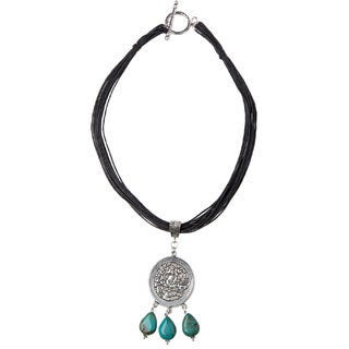 Mayan Etched-metal and Turquoise Pendant with Black Leatherette Cord (Guatemala)