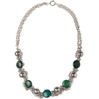 Chrysocolla Stone and Mayan Pewter Charm Necklace (Guatemala)